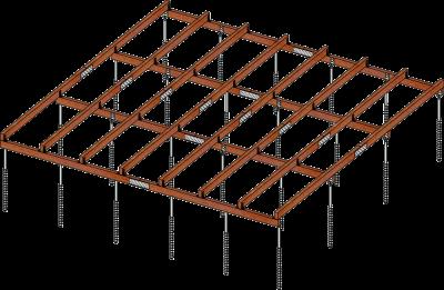 GroundPlug® plantegning af fundamentsramme med skruefundamenter