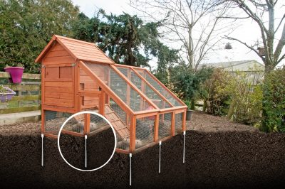Smart no-dig no-pour footings for chicken coup
