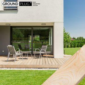 GroundPlug® komplet byg-selv terrassepakke med træ af lærk.